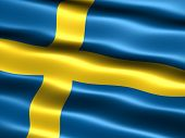 image of sweden flag  - Computer generated illustration of the flag of Sweden with silky appearance and waves - JPG