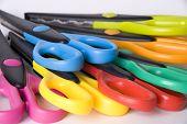 Colorful  Scissors Over White