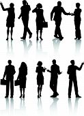 pic of person silhouette  - Silhouettes of business people in various poses - JPG