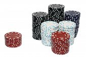 A Large Stack And A Small Stack Of Poker Chips. poster
