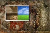 Color landscape on lsd monitor on grunge background