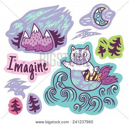Imagine Dream And Believe Vector