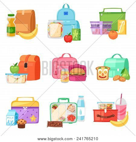 poster of Lunch Box Vector School Lunchbox With Healthy Food Fruits Or Vegetables Boxed In Kids Container In B