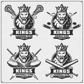 Lacrosse, Football, Baseball And Hockey Badges And Labels. Sport Club Emblems With King. poster