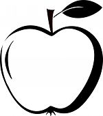 Apple Icon In Outline Style. Vector Illustration With Apple Isolated On White Background. poster