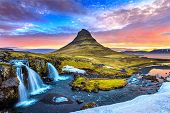 Kirkjufell At Sunrise In Iceland. Beautiful Landscape. poster