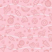 Cute Seamless Summer Pattern With Summer Elements Including Sea Wave, Pineapple, Cocktails, Cactus,  poster