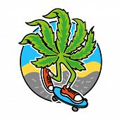 Relaxed Leaf Of Marijuana Which Chill And To Ride A Skateboard On Abstract Background. Cartoon Chara poster