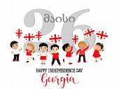 Georgia Independence Day 26th Of May. Design Template Greeting Card, Banner. Happy Children With Fla poster