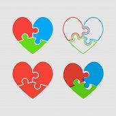 Couple Hearts Puzzle, Love Relationship Friendship. Icon Vector Puzzle Illustration. Jigsaw Puzzle L poster