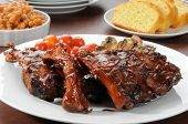 image of baby back ribs  - A platter of barbecue baby back ribs - JPG