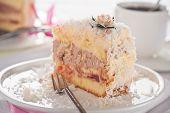 Coconut Cake With Vanilla And Chocolate Cream