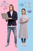 Upset Wife. Young Successful Man Working And Holding A Laptop While His Sad Young Wife Standing Near poster