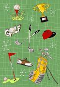 Conjunto de ícones de Golf dos desenhos animados