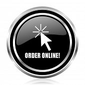 Order online black silver metallic chrome border glossy round web icon poster