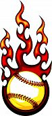 stock photo of fastpitch  - Baseball Sport Vector Graphic Image with Flames - JPG