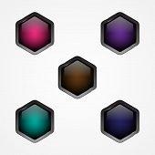 Set Design Vector Hexagon Button For Web Button Icon. Web Shiny Buttons. Vector Illustration Eps.8 E poster