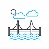 Automotive Bridge Line Icon, Vector Illustration. Automotive Bridge Linear Concept Sign. poster
