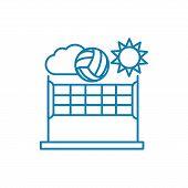 Beach Volleyball Line Icon, Vector Illustration. Beach Volleyball Linear Concept Sign. poster