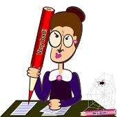 Teacher With Big Pencil