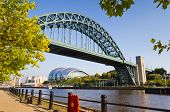 stock photo of tyne  - Framed Tyne bridge with Sage building below - JPG