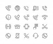 Simple Set Of Phone Related Vector Line Icons. Contains Such Icons As Global Calls, Online Support,  poster