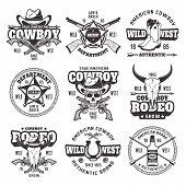 Wild West, Sheriff Department, Cowboy Rodeo Show Set Of Vector Vintage Emblems, Labels, Badges And L poster