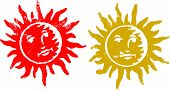 2 Grunge Sun Stamps (Transparent Vectors so they can be overlaid on to other illustreations etc)