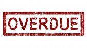 Grunge Office Stamp with the words OVERDUE in a grunge splattered text. (Letters have been uniquely