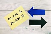 Plan A And Plan B Written On Paper With Arrows,back -up Business Plan Concept. poster