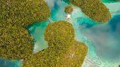 Aerial View: Beach, Tropical Island, Sea Bay And Lagoon, Siargao. Tropical Landscape Hill, Clouds An poster
