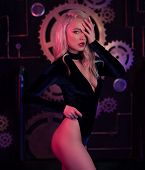 Fashion Art Photo Of Elegant Model In Seductive Black Swimsuit With Light Neon Colored Club Spotligh poster