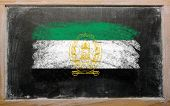 Flag Of Afghanistan On Blackboard Painted With Chalk