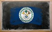 Flag Of Belize On Blackboard Painted With Chalk