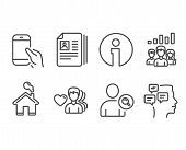 Set Of Man Love, Find User And Cv Documents Icons. Teamwork Results, Hold Smartphone And Messages Si poster