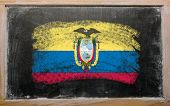 Flag Of Eucuador On Blackboard Painted With Chalk