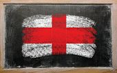 Flag Of England On Blackboard Painted With Chalk