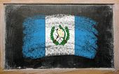 Flag Of Guatemala On Blackboard Painted With Chalk