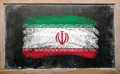Flag Of Iran On Blackboard Painted With Chalk