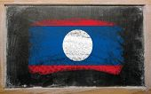 Flag Of Laos On Blackboard Painted With Chalk