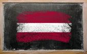 Flag Of Latvia On Blackboard Painted With Chalk