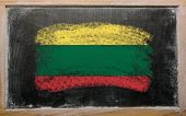 Flag Of Lithuania On Blackboard Painted With Chalk