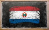 Flag Of Paraguay On Blackboard Painted With Chalk