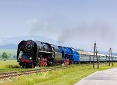 passenger train with steam locomotives (475.101+498.022), Strazovske Vrchy, Slovakia