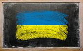 Flag Of Ukraine On Blackboard Painted With Chalk