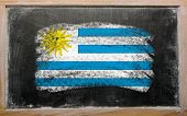 Flag Of Uruguay On Blackboard Painted With Chalk