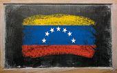 Flag Of Venezuela On Blackboard Painted With Chalk
