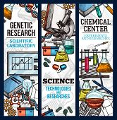 Scientific Banner Sketch Style. Vector Banners For Chemical Center, Concept Of Experiments And Resea poster