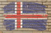 Flag Of Iceland On Grunge Brick Wall Painted With Chalk