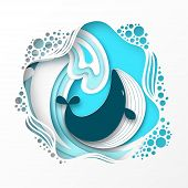 Paper Cut Cartoon Whale On Sea Or Ocean Wave In Origami Trendy Craft Style. Happy Cartoon Whale. Mar poster